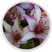 White And Pink Lilies Round Beach Towel