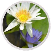 White And Purple Lotus Flowers At Golden Mount Round Beach Towel