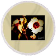 White And Red Dianthus Round Beach Towel