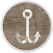 White And Wood Anchor- Art By Linda Woods Round Beach Towel by Linda Woods