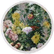 White And Yellow Chrysanthemums Round Beach Towel by Gustave Caillebotte
