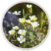 White And Yellow Poppies Abstract 2   Round Beach Towel