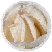 White Angel Rose Round Beach Towel
