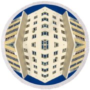 White Apartment Block Abstract And Blue Sky Round Beach Towel
