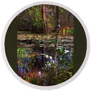 White Azaleas In The Swamp Round Beach Towel