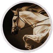 White Beautiful Horse  Round Beach Towel