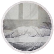 White Bed Sheet- Warmth Round Beach Towel