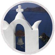 White Bell Tower Round Beach Towel