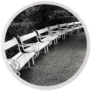 White Benches-  By Linda Wood Woods Round Beach Towel