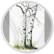 White Birch Round Beach Towel