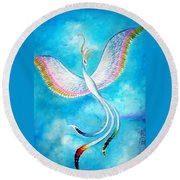 White Bird From Kingdom Of Immortals Round Beach Towel