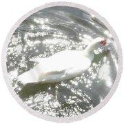 White Bird On Sparkly Water Round Beach Towel