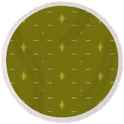 White Birds Chartreuse Sky Round Beach Towel