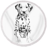 Dalmatian Dog Watercolor Painting, White Black Spotted Dalmatian Puppy Art Print Round Beach Towel