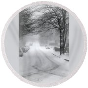 White Blanket Round Beach Towel