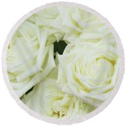 White Blooming Roses Round Beach Towel