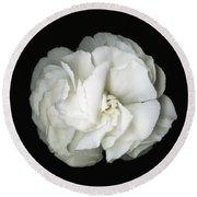 White Blossom Round Beach Towel