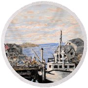 White Boat In Peggys Cove Nova Scotia Round Beach Towel