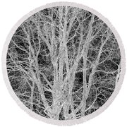 White Branches Round Beach Towel
