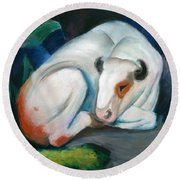 White Bull Resting In The Woods By Franz Marc Round Beach Towel