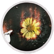 White Butterfly And Yellow Flower Round Beach Towel