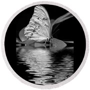White Butterfly Bw Round Beach Towel