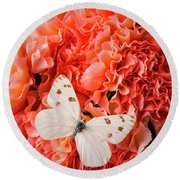 White Butterfly On Pink Carnations Round Beach Towel