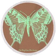 White Butterfly Swallow Tail Le Papillon Machaon Round Beach Towel