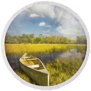 White Canoe Textured Painting Round Beach Towel