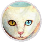 White Cat Round Beach Towel by Shijun Munns