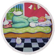 White Cats - Cat Napping Round Beach Towel
