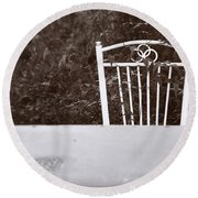 White Chair #0626 Round Beach Towel