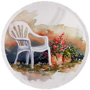 White Chair With Flower Pots Round Beach Towel