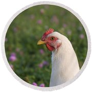 White Chicken Round Beach Towel