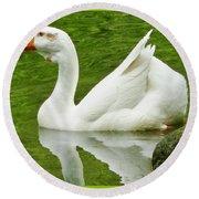 White Chinese Goose Round Beach Towel
