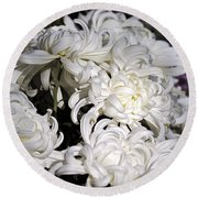 White Chrysanthemum Round Beach Towel