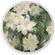 White Clematis Round Beach Towel by Claude Monet