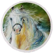 White Cloud The Andalusian Stallion Round Beach Towel