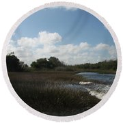 White Cloudes Over Water Round Beach Towel