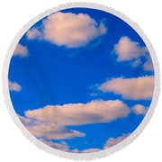 White Clouds In Blue Sky Round Beach Towel