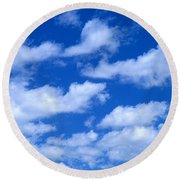 White Clouds Round Beach Towel