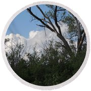 White Clouds With Trees Round Beach Towel