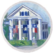 White Columns Round Beach Towel