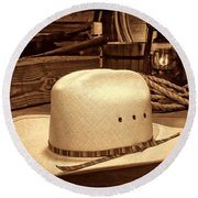 White Cowboy Hat In A Barn Round Beach Towel