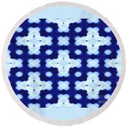 White Crosses And Blue Diamond Abstract Round Beach Towel