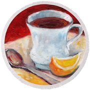 White Cup With Lemon Wedge And Spoon Grace Venditti Montreal Art Round Beach Towel