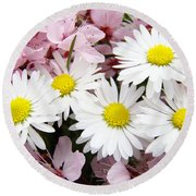 White Daisies Flowers Art Prints Spring Pink Blossoms Baslee Round Beach Towel