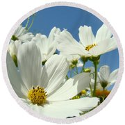 White Daisy Flowers Fine Art Photography Daisies Baslee Troutman Round Beach Towel