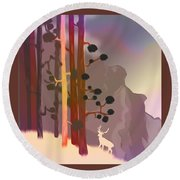 White Deer Climbing Mountains - Abstract And Colorful Forest Round Beach Towel