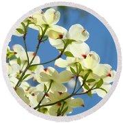 White Dogwood Flowers 1 Blue Sky Landscape Artwork Dogwood Tree Art Prints Canvas Framed Round Beach Towel